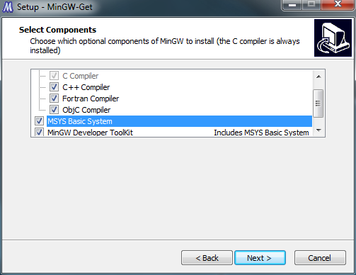 Install all available MinGW components
